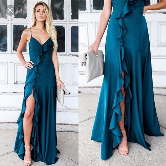 a04804c5246 NWT VICI collection Cool Waters maxi dress teal S